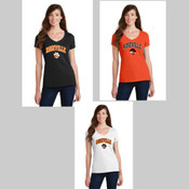 Roseville High School Ladies V Neck Collegiate Logo Tee