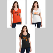 Roseville High School Ladies V Neck Script Logo Tee